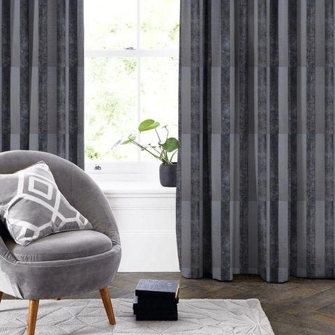 Boheme Stripe Granite Made To Measure Curtain