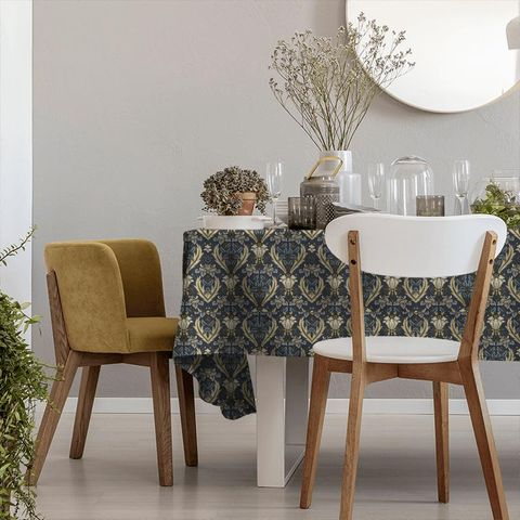 Acanthus Navy Tablecloth