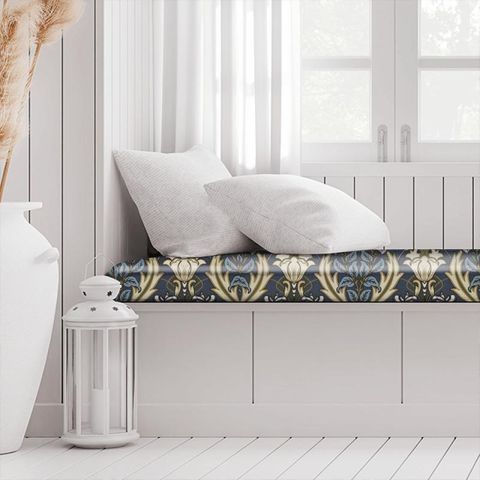 Acanthus Navy Box Cushion