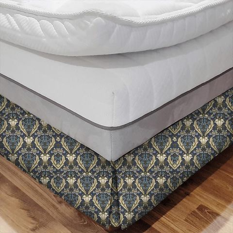 Acanthus Navy Bed Base Valance