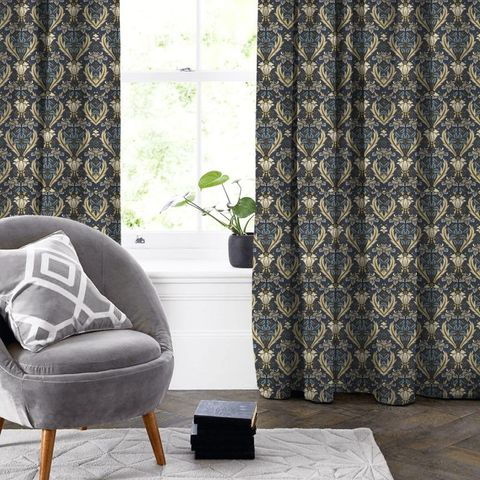 Acanthus Navy Made To Measure Curtain
