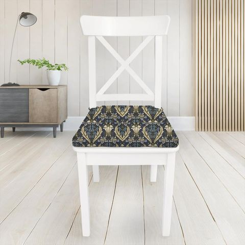 Acanthus Navy Seat Pad Cover