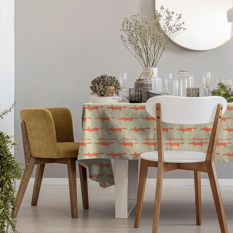 Mr Fox Neutral And Paprika Tablecloth