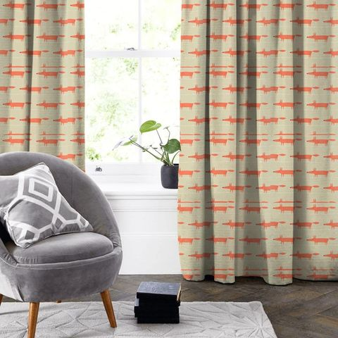 Mr Fox Neutral And Paprika Made To Measure Curtain