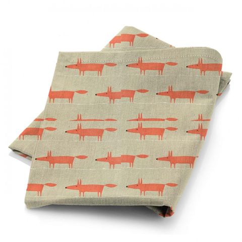 Mr Fox Neutral And Paprika Fabric