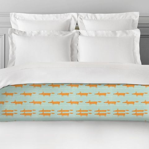 Mr Fox Sky Tangerine And Chalk Bed Runner