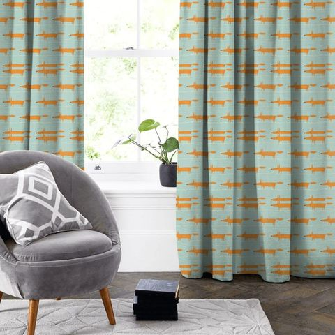 Mr Fox Sky Tangerine And Chalk Made To Measure Curtain