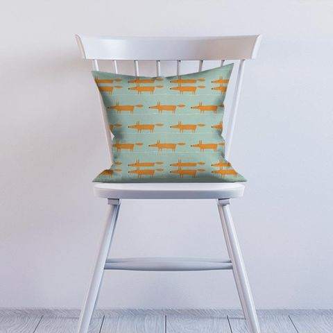 Mr Fox Sky Tangerine And Chalk Cushion