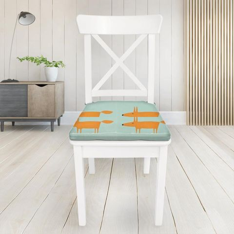 Mr Fox Sky Tangerine And Chalk Seat Pad Cover