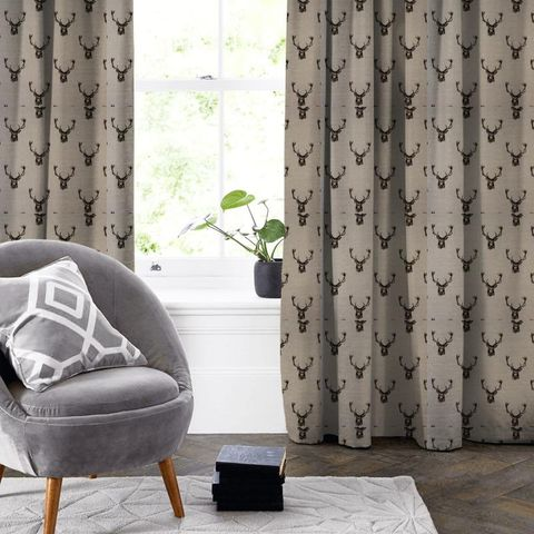 Stags Charcoal Made To Measure Curtain