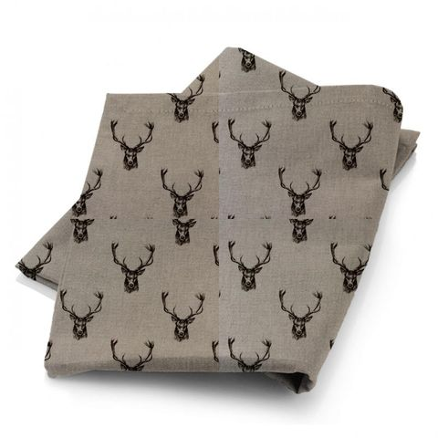 Stags Charcoal Fabric