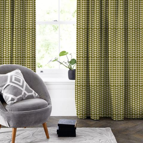 Two Colour Stem Olive Made To Measure Curtain