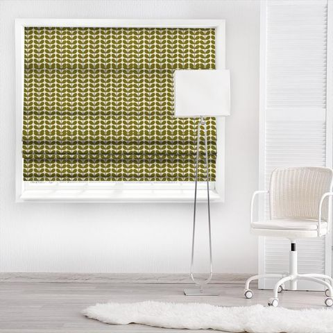 Two Colour Stem Olive Made To Measure Roman Blind