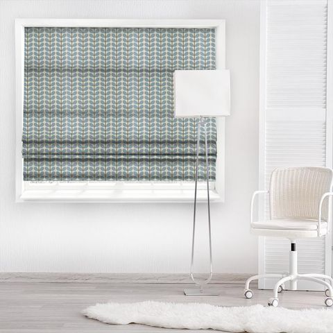 Two Colour Stem Powder Blue Made To Measure Roman Blind