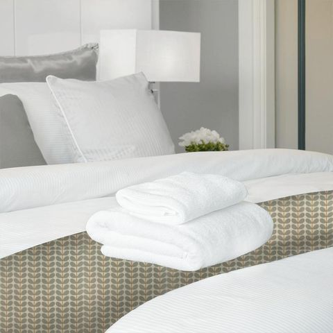 Two Colour Stem Warm Grey Bed Runner