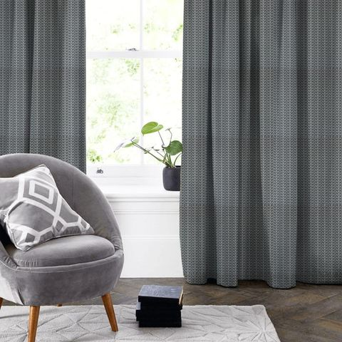 Linear Stem Cool Grey Made To Measure Curtain