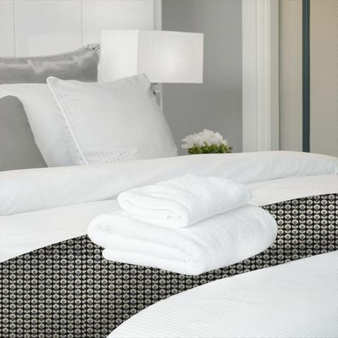 Oval Flower Cool Grey Bed Runner