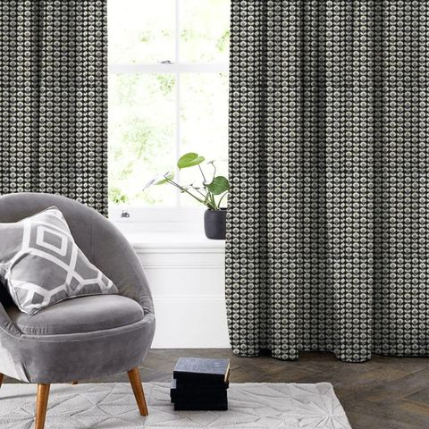 Oval Flower Cool Grey Made To Measure Curtain