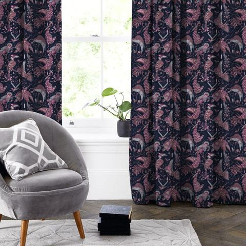 Audubon Pink Velvet Made To Measure Curtain
