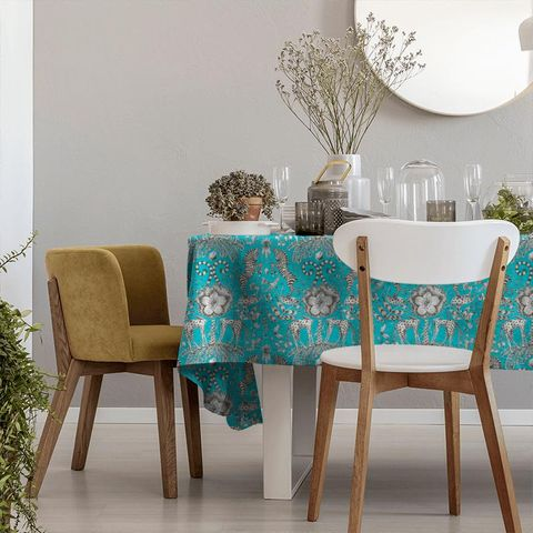 Kruger Teal Tablecloth